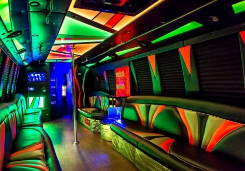 Inside of a 30 seat party bus makes you feel like in a club, even though you are on the road!